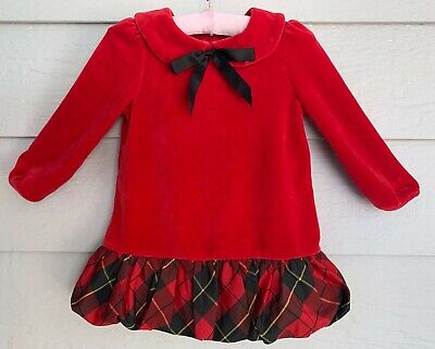 RALPH LAUREN size 12 mo girls red velour special occasion holiday dress – D2
