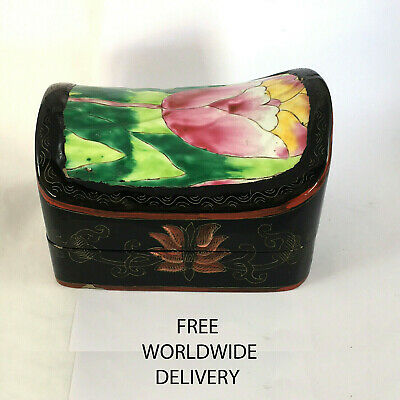 1877 An unusual shaped vintage Japanese lacquer trinket box