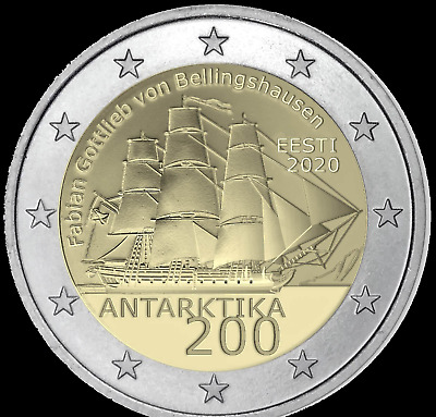 2 euro coin Estonia 2020 200 years of Antarctic discovery - UNC