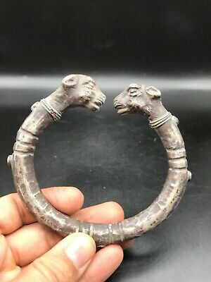 Ancient Viking Silver Bracelet With Serpent Head Terminals