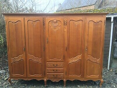 Wonderful Armoire Wardrobe 5 door Vintage French solid oak  Louis XV Style