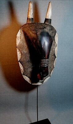 Mask BIG African Carved Wood Tribal Wall Hand Vintage Art Wooden Face 1339