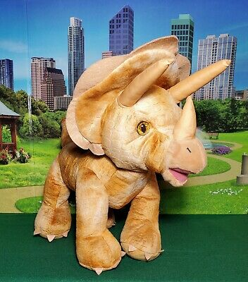 "14"" Build A Bear Triceratops Dinosaur Brown Plush Stuffed BABW 3 Horn Dino Toy"