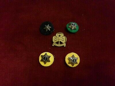 Antique/Vintage Girl Guides Badge And Service Stars With Felt & Clips, Vgc.