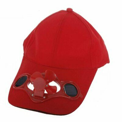Red Solar Powered Air Fan Cooled Baseball Hat Camping Traveling M4G3