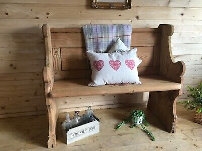 Rustic solid pine very large Monks bench lambing chair settle storage bench