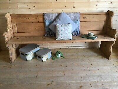 Rustic antique solid wooden pine church pew settle monks bench hall seat