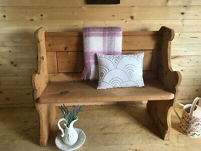 Rustic antique solid wooden pine church pew settle monks bench wooden hall seat