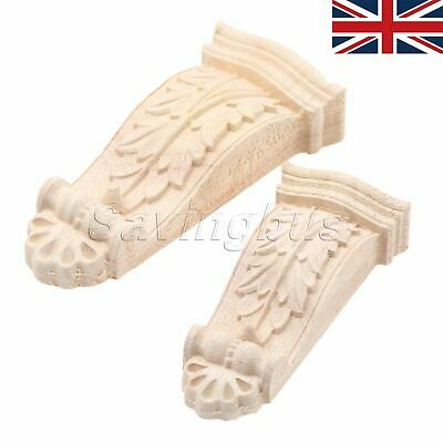 5x Unpainted Woodcarving Furniture Appliques Table Wardrobe Corner Onlay Decal