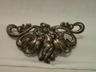 Antique Art Nouveau Belt Buckle With Winged Cherub