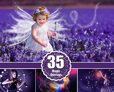 35 magic light photo overlays, magic lights, photoshop overlay, PNG file