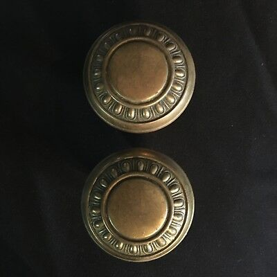 Antique pair Of Victorian Egg & Dart Design Brass Door Knobs