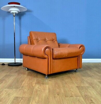 Mid Century Retro Vintage Danish Tan Leather & Chrome Lounge Arm Chair 1960s 70s