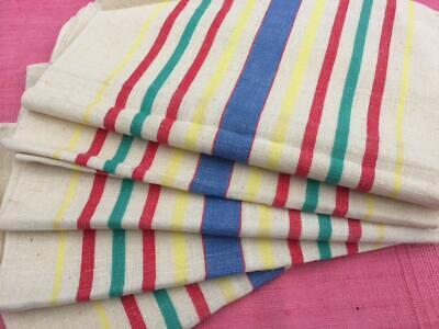 Vintage French Unused Linen Metis Torchon Tea Towel Red Green & Yellow Stripes