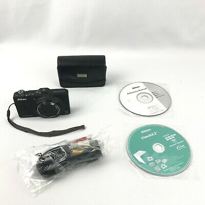 Nikon COOLPIX S9300 16.0MP Digital Camera with GPS Black Tested Fast Shipping