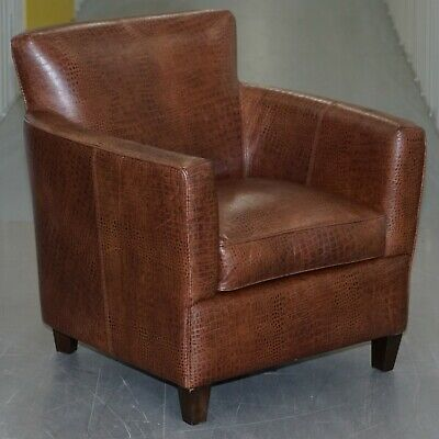 Lovely Crocodile Alligator Patina Brown Leather Club Armchair Decorative Piece