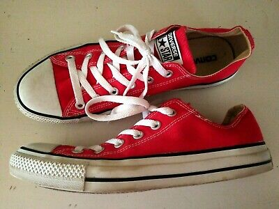 Converse Red Canvas Classic All Star Chuck Taylor Sneakers Shoe Mens 8 Womens 10