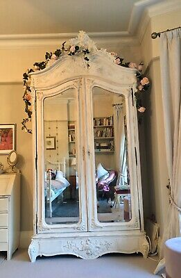 Antique Painted French 2 Door Mirrored Armoire