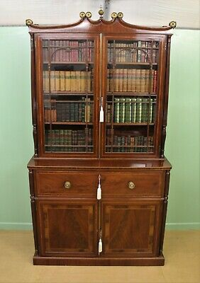 Antique George IV Inlaid Mahogany Secretaire Bookcase c.1820