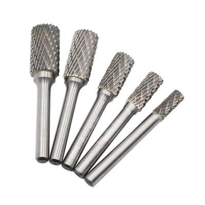 5pcs Tungsten Carbide Rotary File Cylindrical Head Drill Grinding Burr Rasp L&6