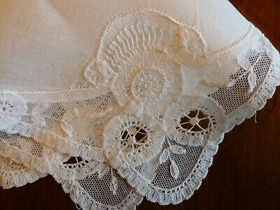 Charming Antique Bridal Princess Tape Lace Handmade Wedding Marriage Hanky