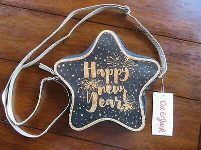 Adorable Girls Cat & Jack New Year's Eve Purse Black & Gold Party Time BNWT
