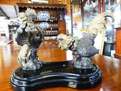 Antique Spelter Fighting Cocks on a Heavy Marble Base