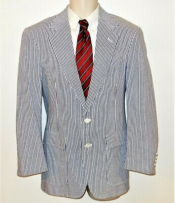 Seersucker Sport Coat Blazer Blue White Stripe 38R Mens 2 Button Jacket
