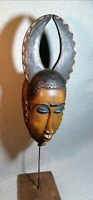 African mask Tribe Wood Tribal Wall Hand Vintage Art Wooden Face Decor 1342
