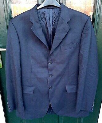 AQUASCUTUM LONDON  Men's Navy Blue Single Breasted Collared Suit Jacket UK42L
