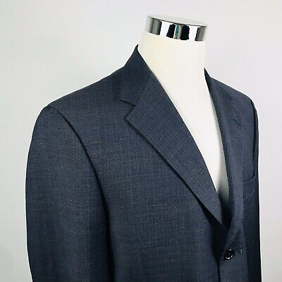 Ted Baker London Mens 42R Sport Coat Navy Blue Textured 100% Wool Three Button