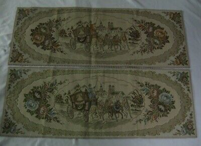 Lot of 2 Vtg Horse Carriage Roses Tapestry Brocade Table Runner Metallic 31x11