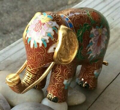 "Vntg Red Chinese Cloisonne Elephant Figurine Brass Enamel Trunk Up 3"" by 4"""