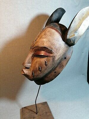 African mask Tribe Wood Tribal Wall Hand Vintage Art Wooden Face Decor 1344