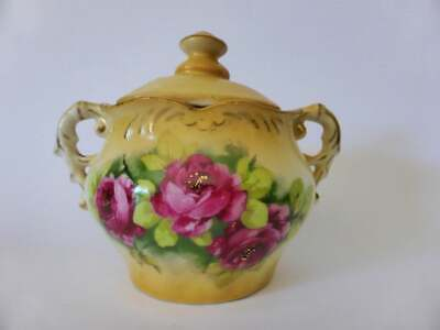 Antique Edwardian Rose Sugar Bowl, Bisque Porcelain, Hand Painted 1900's Austria