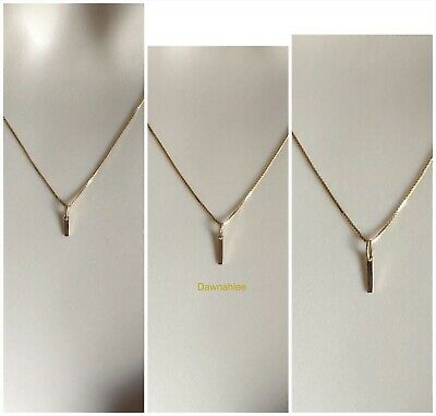 14K Solid Yellow Gold Vertical Bar Charm Tiny Pendant for Necklace Dainty Simple