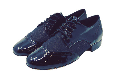 Gentlemen's Black and Black Glitter Leather Wingtip Lace Up Dance Shoes