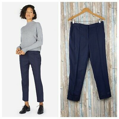 Everlane 6 Navy The Premium Wool Cashmere Flannel Crop Trouser Pants Work Career
