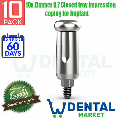 10x Zimmer 3.7 Closed tray impression coping for Implant