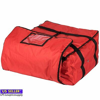 """3 Pack 20"""" x 20"""" x 12"""" Red End Load Vinyl Insulated Pizza Delivery Bags"""