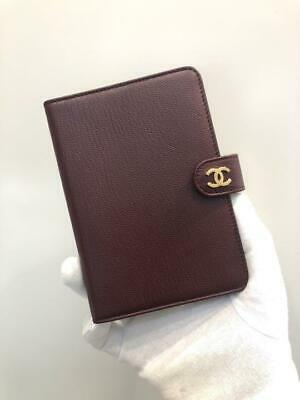Authentic CHANEL Vintage CC Logo Notebook Cover Bordeaux