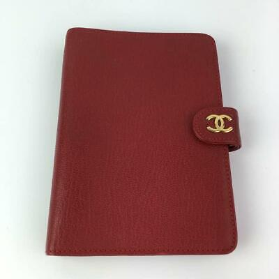 Authentic CHANEL Vintage CC Logo Notebook Cover Leather Red Gold