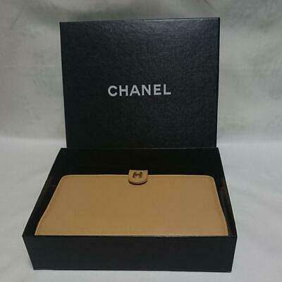 Unused Authentic CHANEL Vintage CC Logo Notebook Cover Leather Beige