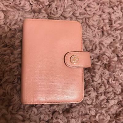 Authentic CHANEL Vintage CC Logo Notebook Cover Leather Pink
