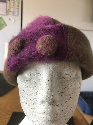 Max & Ellie Purple & Green Wool Hat New