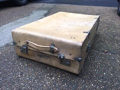 Vintage Antique Vellum Leather Wardrobe Trunk Case 1940s Shabby Chic