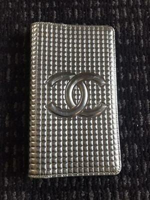 Authentic CHANEL Vintage CC Logo Notebook Cover Silver