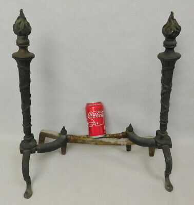 Antique French Empire Gothic Revival Victorian Cast Iron Andirons Fire Dogs