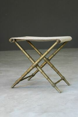 Vntage Simulated Bamboo Gilt Wood Campaign Style Stool
