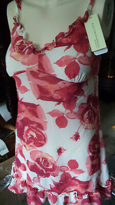Elle Mac Pherson Undergarment, Negligee S WHITE Red Roses Series Moroccan New